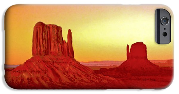 The View Mixed Media iPhone Cases - The Mittens Monument Valley iPhone Case by  Bob and Nadine Johnston