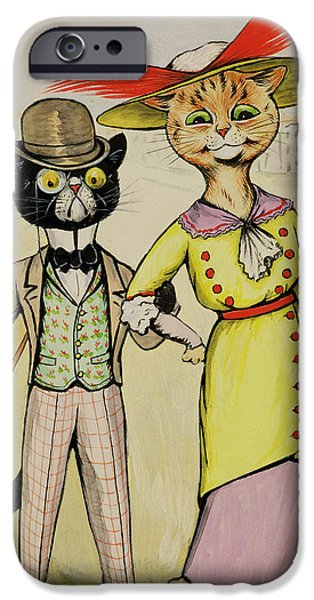 Cat Drawings iPhone Cases - The Modern Arry And Arriet iPhone Case by Louis Wain