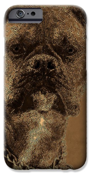 The Modern Boxer Bulldog iPhone Case by Lesa Fine