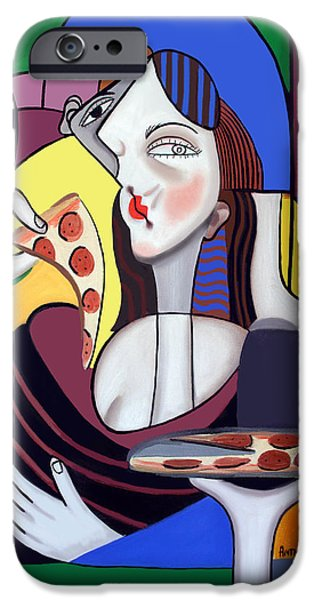 Canvas Wine Prints iPhone Cases - The Mona Pizza iPhone Case by Anthony Falbo