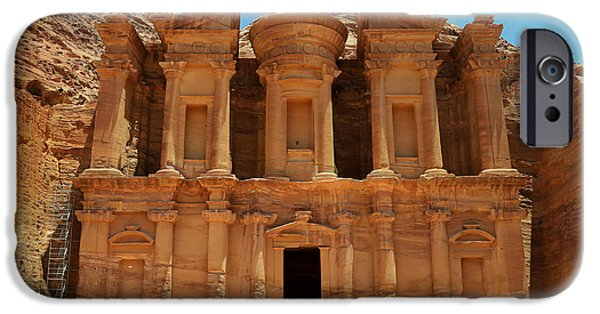 Historic Site iPhone Cases - The Monastery at Petra iPhone Case by Stephen Stookey
