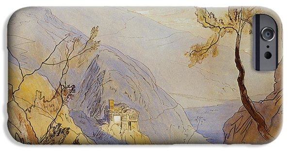 19th Century Drawings iPhone Cases - The Monastery of St Dionysius Mount Athos iPhone Case by Edward Lear