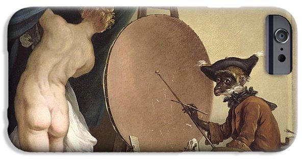 Model iPhone Cases - The Monkey Painter Oil On Canvas iPhone Case by Jean Baptiste Deshays de Colleville