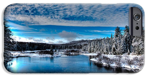 Snow Scene iPhone Cases - The Moose River in Early December iPhone Case by David Patterson