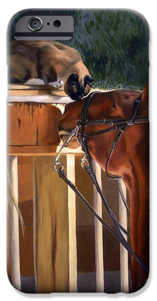 American Saddlebred iPhone Cases - The Morning Buzz iPhone Case by Jeanne Newton Schoborg