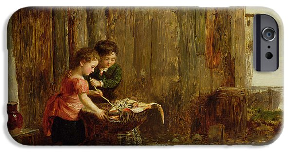 Young iPhone Cases - The Morning Catch, 19th Century iPhone Case by Alexander Jnr. Fraser