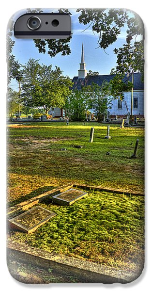 Graveyard Road iPhone Cases - The Moss Covered Grave at Walker United Methodist Church iPhone Case by Reid Callaway