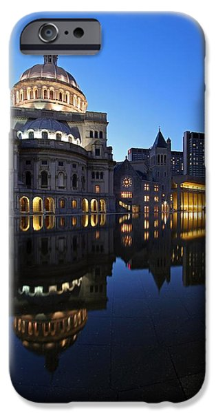Home Improvement iPhone Cases - The Mother Church and The Pru iPhone Case by Juergen Roth