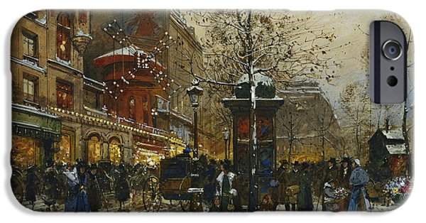 Mid Adult iPhone Cases - The Moulin Rouge Paris iPhone Case by Eugene Galien-Laloue