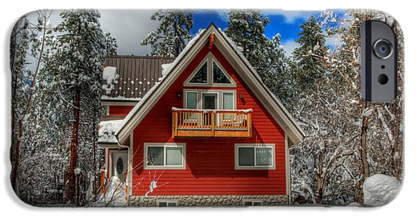 Prescott iPhone Cases - The Mountain Cabin In The Snow iPhone Case by K D Graves
