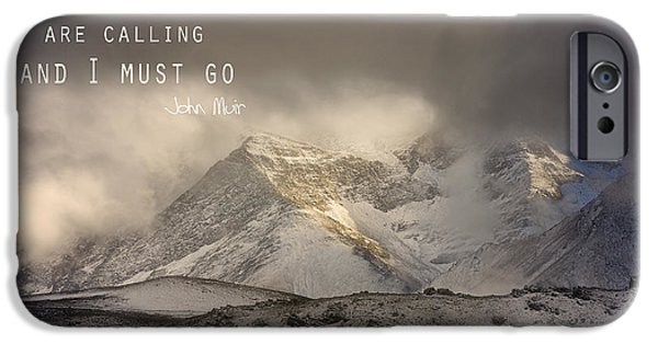 Windy iPhone Cases - The Mountains are calling and I must go  John Muir Vintage iPhone Case by Guido Montanes Castillo