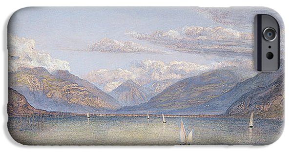 Swiss Paintings iPhone Cases - The Mountains of St Gingolph iPhone Case by John Brett
