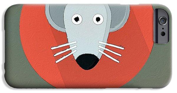 Mice Digital Art iPhone Cases - The Mouse Cute Portrait iPhone Case by Florian Rodarte