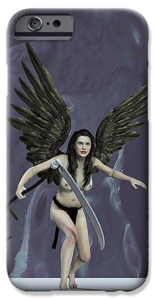 Seraphim Angel Digital Art iPhone Cases - The mower souls. iPhone Case by Joaquin Abella