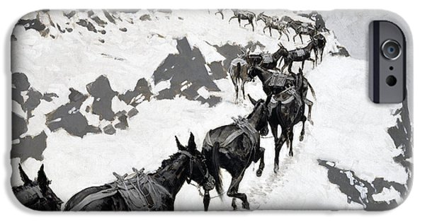 Frederic Remington iPhone Cases - The Mule Pack iPhone Case by Frederic Remington