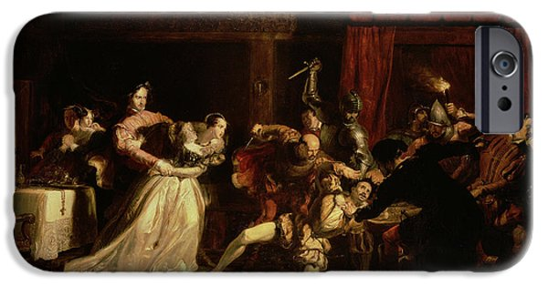Lute iPhone Cases - The Murder Of David Rizzio, 1833 Oil On Panel iPhone Case by Sir William Allan