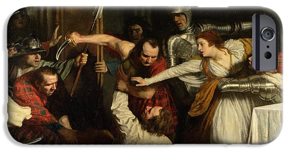 Pres iPhone Cases - The Murder Of Rizzio, 1787 Oil On Canvas iPhone Case by John Opie