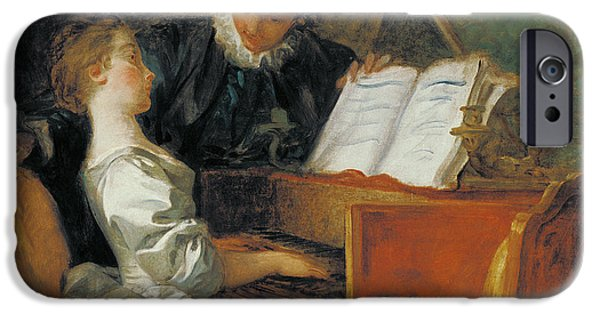 Piano iPhone Cases - The Music Lesson Oil On Canvas iPhone Case by Jean-Honore Fragonard