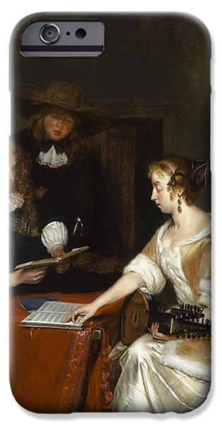 Interior Scene iPhone Cases - The Music Party, C.1668-70 Oil On Panel iPhone Case by Gerard ter Borch or Terborch