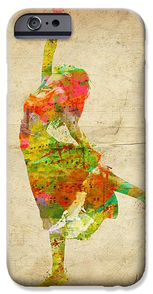 Vibrant Digital Art iPhone Cases - The Music Rushing Through Me iPhone Case by Nikki Marie Smith