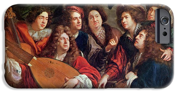 Lute iPhone Cases - The Musical Society, 1688 Oil On Canvas iPhone Case by Francois Puget