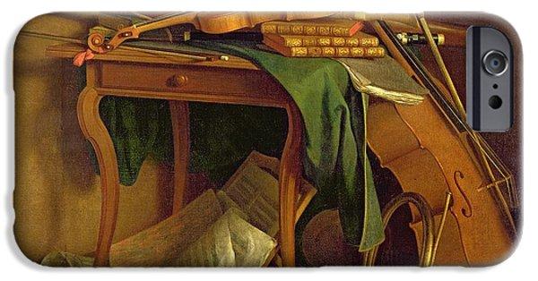 Sheets iPhone Cases - The Musicians Table, C.1760 Oil On Canvas iPhone Case by Henri Roland de la Porte