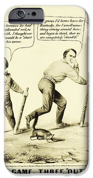 The National Game - Abraham Lincoln Plays Baseball iPhone Case by Digital Reproductions