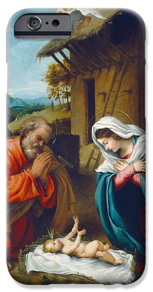 Holy iPhone Cases - The Nativity 1523 iPhone Case by Lorenzo Lotto