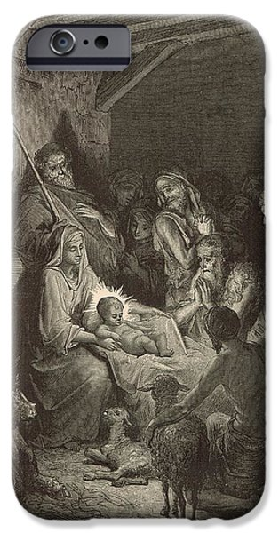Son Of God Drawings iPhone Cases - The Nativity iPhone Case by Antique Engravings