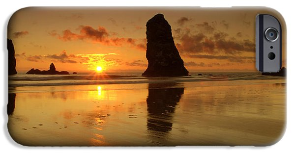 Ocean Sunset iPhone Cases - The Needles At Haystack - Cannon Beach Sunset  iPhone Case by Brian Harig