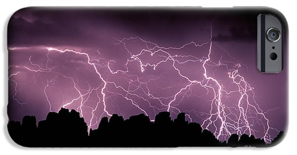 Electrical iPhone Cases -  Lightening Storm Over The Needles  iPhone Case by Tracy Knauer