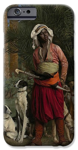 Negro Paintings iPhone Cases - The Negro Master of the Hounds iPhone Case by Jean-Leon Gerome