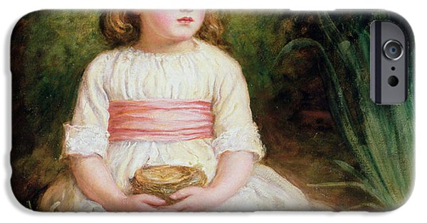 Thinking iPhone Cases - The Nest Oil On Canvas iPhone Case by Sir John Everett Millais