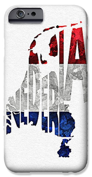 Nederland iPhone Cases - The Netherlands Typographic Map Flag iPhone Case by Ayse Deniz
