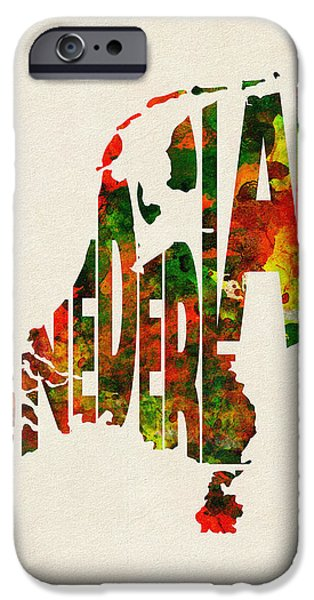 Nederland iPhone Cases - The Netherlands Typographic Watercolor Map iPhone Case by Ayse Deniz