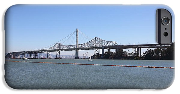 Baybridge iPhone Cases - The New And The Old Bay Bridge San Francisco Oakland California 5D25359 iPhone Case by Wingsdomain Art and Photography