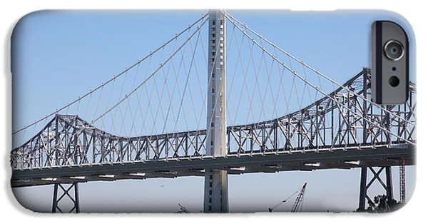 Baybridge iPhone Cases - The New And The Old Bay Bridge San Francisco Oakland California 5D25361 iPhone Case by Wingsdomain Art and Photography