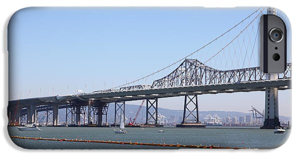 Baybridge iPhone Cases - The New And The Old Bay Bridge San Francisco Oakland California 5D25364 iPhone Case by Wingsdomain Art and Photography