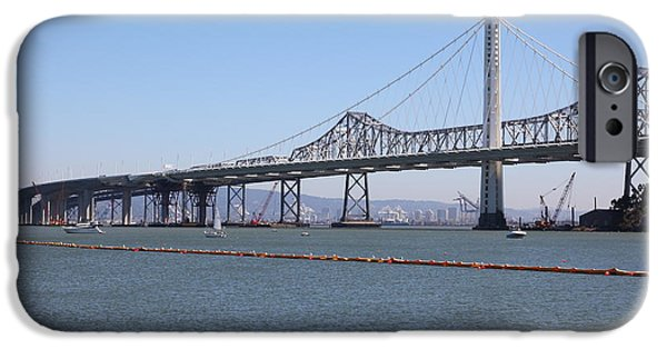 Baybridge iPhone Cases - The New And The Old Bay Bridge San Francisco Oakland California 5D25365 iPhone Case by Wingsdomain Art and Photography