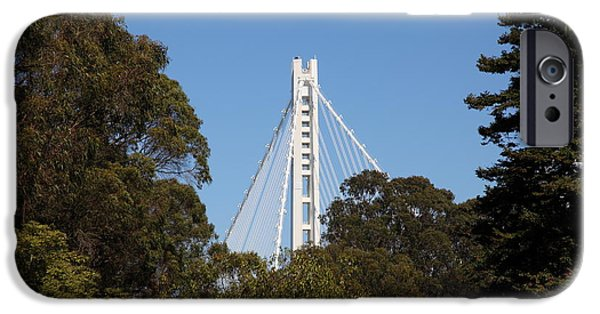 Baybridge iPhone Cases - The New And The Old Bay Bridge San Francisco Oakland California 5D25391 iPhone Case by Wingsdomain Art and Photography