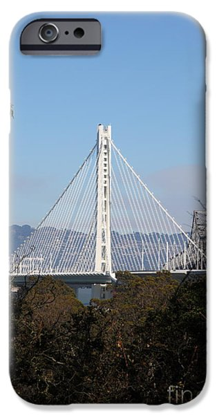 Baybridge iPhone Cases - The New And The Old Bay Bridge San Francisco Oakland California 5D25397 iPhone Case by Wingsdomain Art and Photography