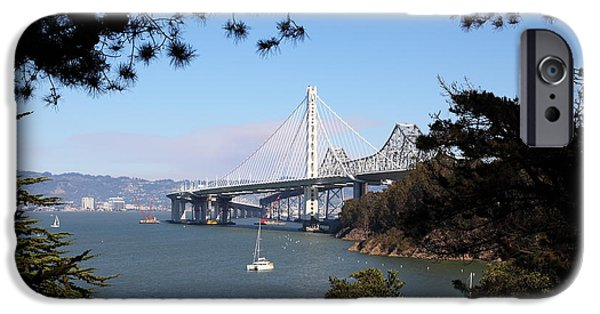 Baybridge iPhone Cases - The New And The Old Bay Bridge San Francisco Oakland California 5D25404 iPhone Case by Wingsdomain Art and Photography