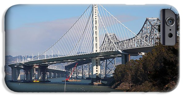 Baybridge iPhone Cases - The New And The Old Bay Bridge San Francisco Oakland California 5D25405 iPhone Case by Wingsdomain Art and Photography