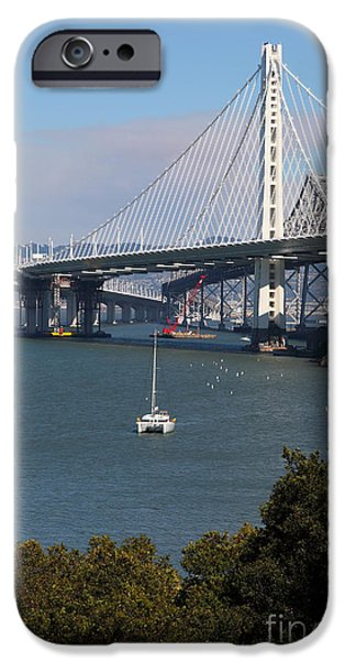 Baybridge iPhone Cases - The New And The Old Bay Bridge San Francisco Oakland California 5D25409 iPhone Case by Wingsdomain Art and Photography