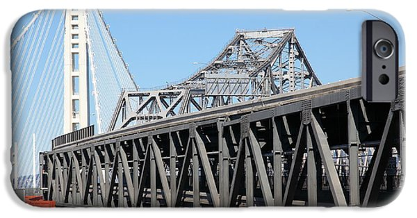 Baybridge iPhone Cases - The New And The Old Bay Bridge San Francisco Oakland California 5D25429 iPhone Case by Wingsdomain Art and Photography