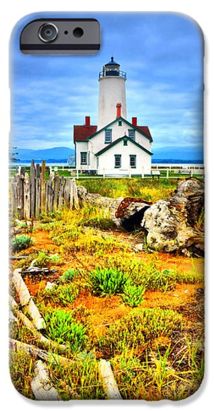 Spit iPhone Cases - The New Dungeness Lighthouse iPhone Case by Tara Turner
