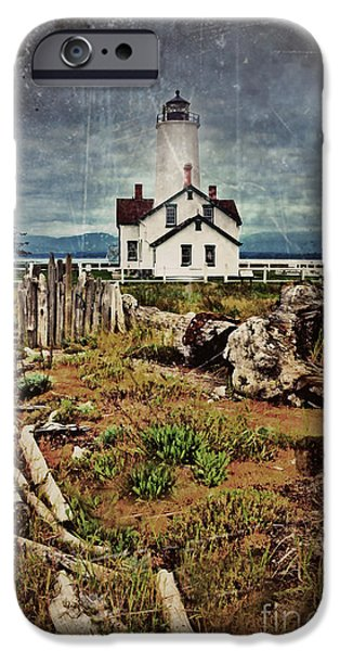 Spit iPhone Cases - The New Dungeness Lighthouse Vintage iPhone Case by Tara Turner
