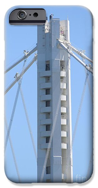 Bay Bridge iPhone Cases - The New San Francisco Oakland Bay Bridge 7D25449 iPhone Case by Wingsdomain Art and Photography