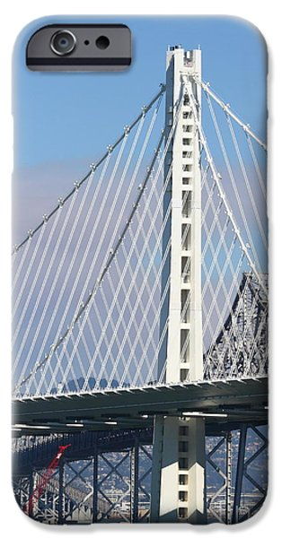 Bay Bridge iPhone Cases - The New San Francisco Oakland Bay Bridge 7D25468 iPhone Case by Wingsdomain Art and Photography