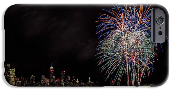4th Of July iPhone Cases - The New York City Skyline Sparkles iPhone Case by Susan Candelario